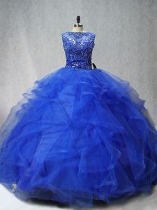Brush Train Ball Gowns Quinceanera Dresses Royal Blue Scoop Tulle Sleeveless Lace Up