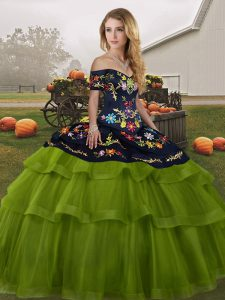 Olive Green Ball Gowns Off The Shoulder Sleeveless Tulle Brush Train Lace Up Embroidery and Ruffled Layers 15th Birthday Dress
