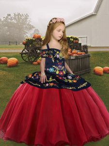 Hot Selling Floor Length Lace Up Little Girl Pageant Dress Coral Red for Party and Wedding Party with Embroidery