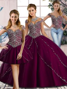 Affordable Purple Three Pieces Sweetheart Cap Sleeves Tulle Brush Train Lace Up Beading Quinceanera Gown