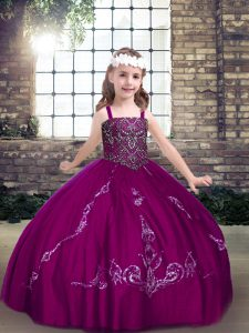 Perfect Floor Length Fuchsia Pageant Dress Toddler Straps Sleeveless Lace Up