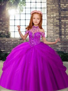 Purple Sleeveless Beading Floor Length Pageant Dress for Teens