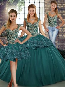 Customized Sleeveless Tulle Floor Length Lace Up Custom Made in Green with Beading and Appliques