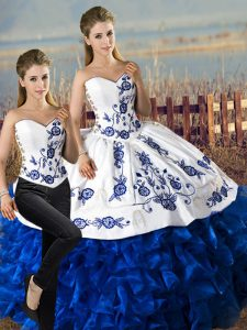 Satin and Organza Sweetheart Sleeveless Lace Up Embroidery and Ruffles Vestidos de Quinceanera in Blue And White