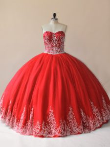Extravagant Red Lace Up Sweetheart Embroidery Quinceanera Gown Tulle Sleeveless