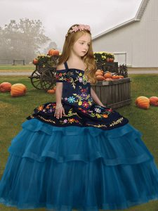 Discount Teal Ball Gowns Straps Sleeveless Tulle Floor Length Lace Up Embroidery and Ruffled Layers Little Girl Pageant Gowns