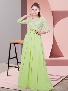 High Quality Yellow Green Empire Scoop 3 4 Length Sleeve Chiffon Floor Length Side Zipper Lace and Belt Dama Dress