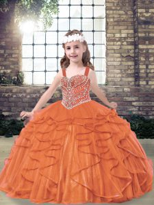 Orange Red Ball Gowns Tulle Straps Sleeveless Beading and Ruffles Floor Length Lace Up Pageant Dress for Teens