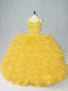 Admirable Gold Ball Gowns Straps Sleeveless Organza Floor Length Lace Up Beading and Ruffles Sweet 16 Quinceanera Dress