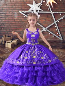 Wonderful Embroidery and Ruffled Layers Little Girl Pageant Dress Lavender Lace Up Sleeveless Floor Length