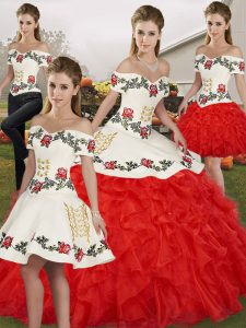 Ball Gowns Quinceanera Gown White And Red Off The Shoulder Organza Sleeveless Floor Length Lace Up