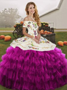 Trendy Organza Sleeveless Floor Length Quinceanera Dresses and Embroidery and Ruffled Layers