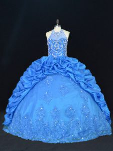 Floor Length Blue Sweet 16 Dresses Halter Top Sleeveless Lace Up