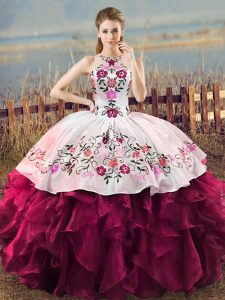 Fuchsia Sleeveless Organza Lace Up 15 Quinceanera Dress for Sweet 16 and Quinceanera