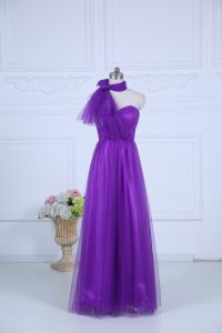 Gorgeous Eggplant Purple Sleeveless Ruching Floor Length Dama Dress for Quinceanera