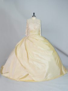 Hot Sale Yellow Taffeta Lace Up High-neck Long Sleeves Vestidos de Quinceanera Brush Train Lace