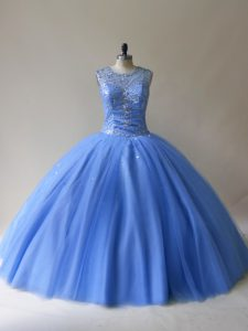 Excellent Sleeveless Floor Length Beading Lace Up Sweet 16 Dress with Baby Blue