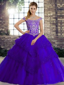 Flare Purple Sleeveless Beading and Lace Lace Up Ball Gown Prom Dress