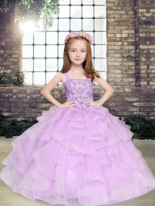 Lavender Ball Gowns Beading and Ruffles Kids Pageant Dress Lace Up Tulle Sleeveless Floor Length