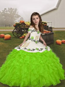 Sleeveless Floor Length Embroidery and Ruffles Lace Up Kids Formal Wear