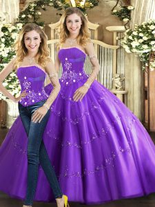Adorable Sleeveless Tulle Floor Length Lace Up Vestidos de Quinceanera in Purple with Beading