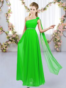 Popular Chiffon Lace Up Quinceanera Court Dresses Sleeveless Floor Length Beading and Hand Made Flower