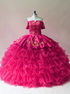 Designer Floor Length Fuchsia Sweet 16 Quinceanera Dress Off The Shoulder Sleeveless Lace Up