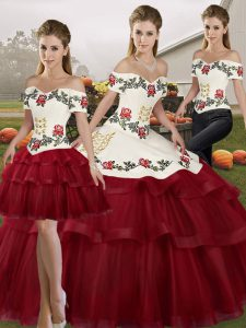 Decent Off The Shoulder Sleeveless Brush Train Lace Up Quinceanera Gowns Wine Red Tulle