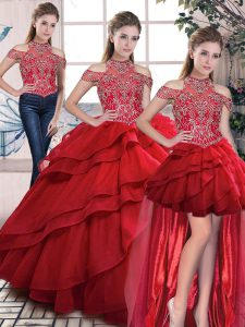 Amazing Red Three Pieces Beading and Ruffles 15th Birthday Dress Lace Up Organza Sleeveless