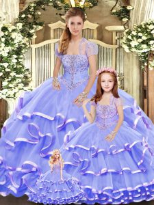 Latest Strapless Sleeveless Organza Sweet 16 Dresses Beading and Ruffled Layers Lace Up