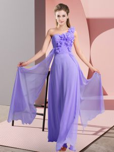 Lavender Empire Hand Made Flower Damas Dress Lace Up Chiffon Sleeveless Floor Length