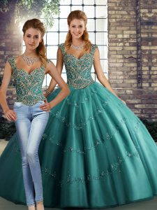 Sweet Teal Straps Lace Up Beading and Appliques 15th Birthday Dress Sleeveless