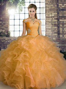 Beautiful Organza Off The Shoulder Sleeveless Lace Up Beading and Ruffles 15th Birthday Dress in Orange