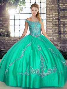 Turquoise Tulle Lace Up Off The Shoulder Sleeveless Floor Length 15th Birthday Dress Beading and Embroidery