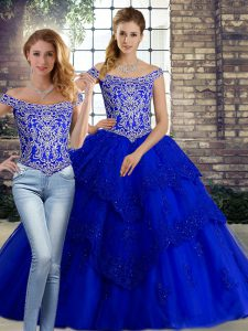 Luxurious Lace Up Sweet 16 Dress Royal Blue for Military Ball and Sweet 16 and Quinceanera with Beading and Lace Brush Train