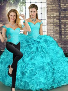 Spectacular Off The Shoulder Sleeveless Quinceanera Dresses Floor Length Beading and Ruffles Aqua Blue Organza