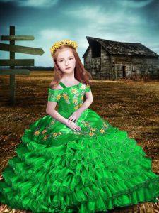 Green Short Sleeves Floor Length Embroidery and Ruffled Layers Lace Up Child Pageant Dress
