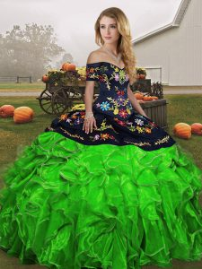 Ball Gowns Sweet 16 Dress Green Off The Shoulder Organza Sleeveless Floor Length Lace Up