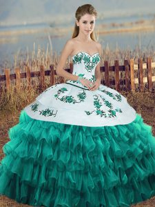Fantastic Turquoise Lace Up Sweetheart Embroidery and Ruffled Layers and Bowknot Quinceanera Dresses Organza Sleeveless