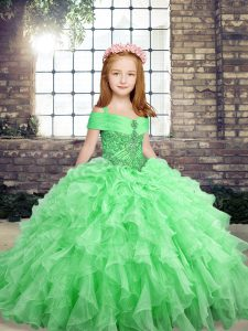Sleeveless Organza Floor Length Lace Up Pageant Dress in with Beading and Ruffles
