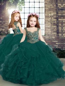 Straps Sleeveless Lace Up Little Girl Pageant Dress Peacock Green Tulle
