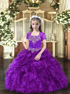 Purple Sleeveless Floor Length Beading and Ruffles Lace Up Kids Pageant Dress