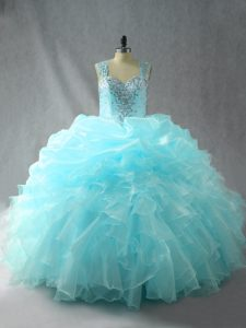 Charming Aqua Blue Zipper Quinceanera Dress Beading and Ruffles Sleeveless