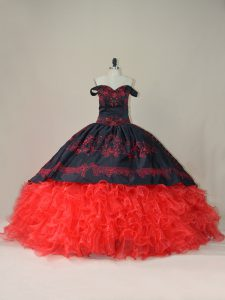 Red And Black Quinceanera Gowns Sweet 16 and Quinceanera with Embroidery and Ruffles Off The Shoulder Sleeveless Brush Train Lace Up