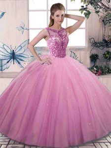 Sleeveless Floor Length Beading Lace Up Sweet 16 Dresses with Rose Pink