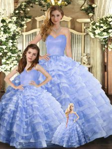 Colorful Lavender 15th Birthday Dress Military Ball and Sweet 16 and Quinceanera with Ruffled Layers Sweetheart Sleeveless Lace Up