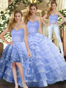New Arrival Floor Length Lace Up Quince Ball Gowns Lavender for Military Ball and Sweet 16 and Quinceanera with Ruffled Layers
