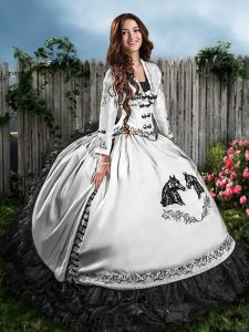 Graceful Sweetheart Sleeveless Lace Up Sweet 16 Dresses White And Black Satin