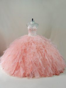 Fantastic Peach Ball Gowns Scoop Sleeveless Tulle Floor Length Lace Up Beading and Ruffles Quinceanera Gown