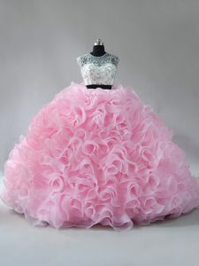 Low Price Baby Pink Sleeveless Brush Train Beading and Ruffles Ball Gown Prom Dress